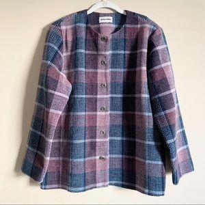 ALFRED DUNNER / vintage pink blue plaid blazer / L